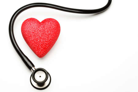 Stethoscope and red heart, health. Stock Photo - 4441091