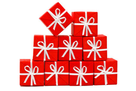 isolates: Small red presents with with ribbon on white background