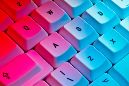 colored gels: Computer Keyboard lit with colored studio gels