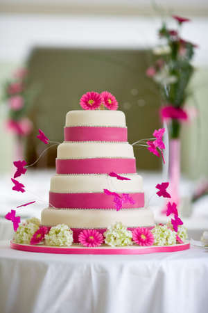 Beautiful wedding cake with butterflies photo