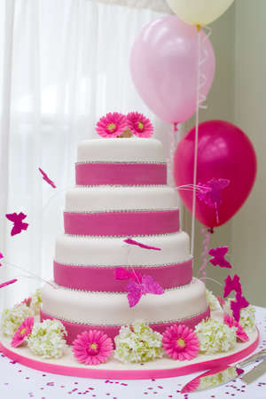 Beautiful wedding cake with butterflies photo