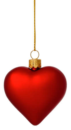 Hanging crimson Christmas Heart bauble on gold thread isolated on white photo
