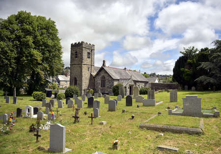 Old Medieval English Church and Cemetery sat in a cornish town of Launceston Cornwall UK