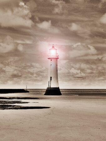 Sepia Surreal Lighthouse  Stock Photo