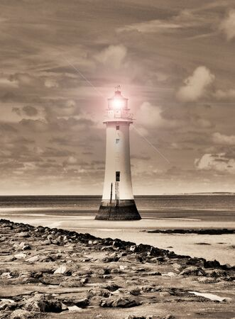Sepia Surreal Lighthouse  Stock Photo