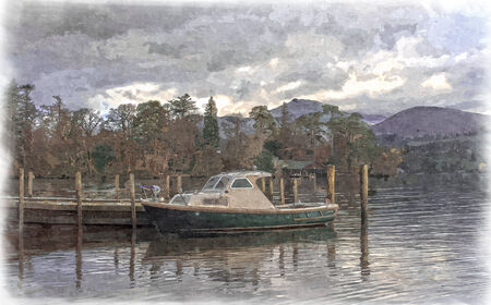 Derwent Water Boat Scene in Oils Stock Photo