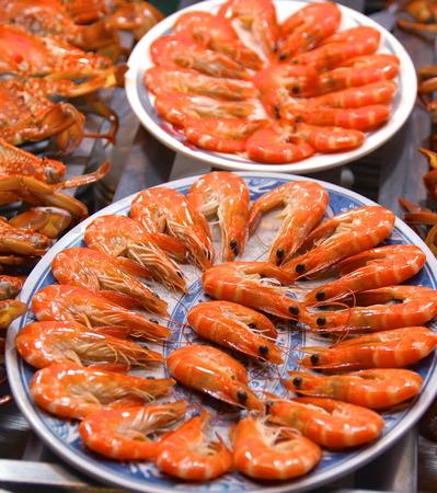 night market: Boiled red shrimp closeup at night market