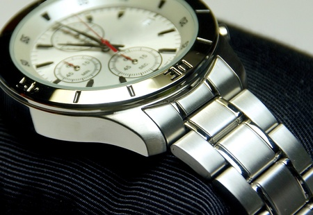 chronograph: The stainless steel of chronograph watch closeup