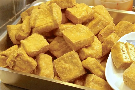 night market: Stinky tofu - very famous snack at night market in Taiwan
