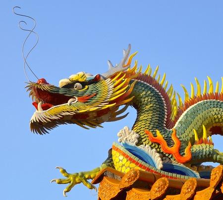 Dragon decoration closeup at temple in southern Taiwan photo