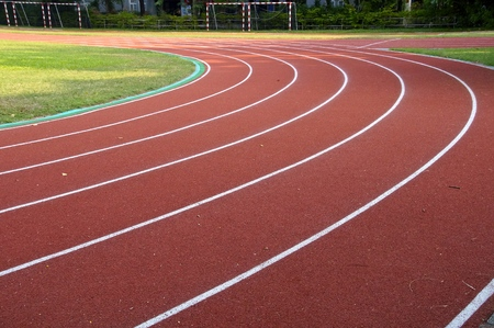 level playing field: The running track closeup at a playground