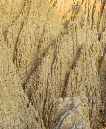 eras: The close view of badland formations in southern Taiwan Stock Photo