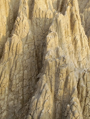 The close view of badland formations in southern Taiwan Stock Photo