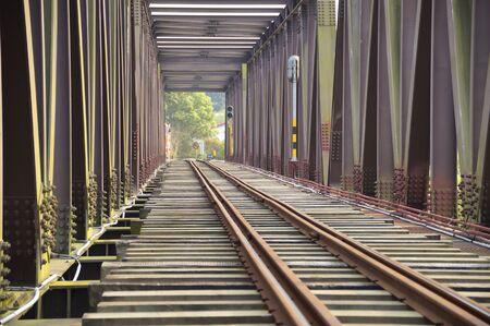 wood railroads: The close view of railroad track on iron bridge