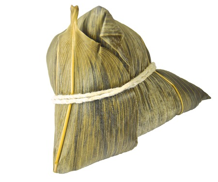 Chinese zongzi isolated on white for Dragon Boat Festival photo