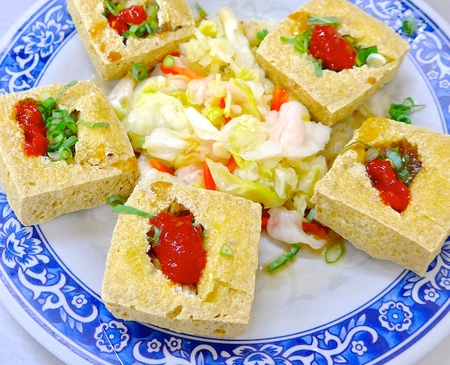 stinky: The closeup of fried stinky tofu in Taiwan Stock Photo