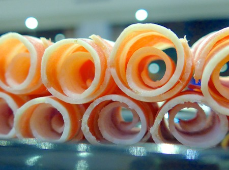 hot pot: The close view of hot pot sliced beef