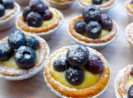 teatime: The close view of blueberry tarts in teatime Stock Photo