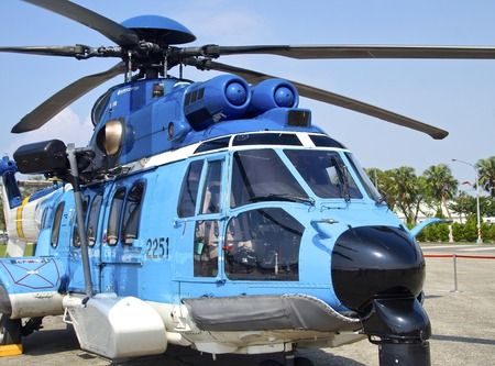 heli: EC-225 helicopter for opening to visitors at Kaohsiung Navy Headquarters in Taiwan. On Oct 24, 2015