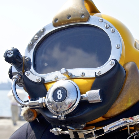 The close up of deep sea diving helmet Stock Photo