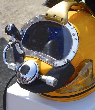 deep sea: The close up of deep sea diving helmet Stock Photo