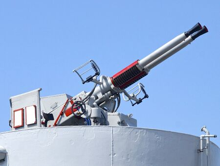 deck cannon: The closeup of defense cannon on the battleship Stock Photo