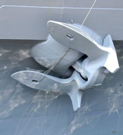 battleship: The close view of battleship anchor at harbor Stock Photo