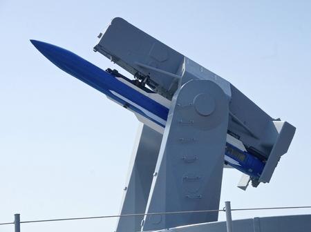 battleship: The closeup of air defense missile on battleship