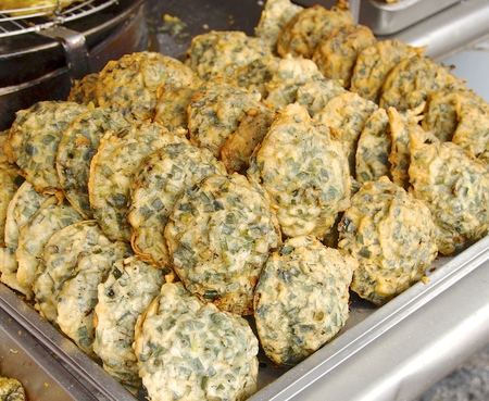 fritter: Oyster fritter closeup,one of delicious snack in Taiwan Stock Photo