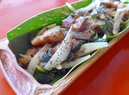 aborigines: Taiwan aborigines cuisine- Salt pork Stock Photo