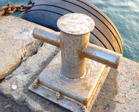 ship deck: The close view of bollard on the ship deck