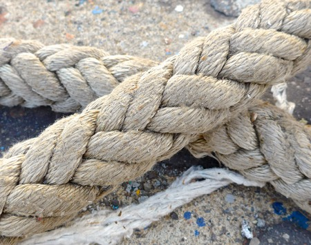 ship deck: The close view of rope on the ship deck Stock Photo