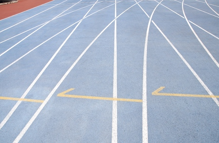 level playing field: Starting lines on running track at playground