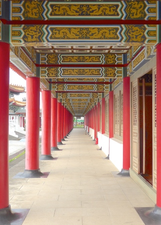 corridors: Temple outside corridor closeup in Taiwan