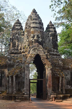 South Gate of Angkor Thom from outside the city Angkor Cambodia photo