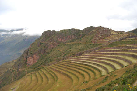 sacred valley: Walks in the Archaeological Park of Pisac Peru Stock Photo