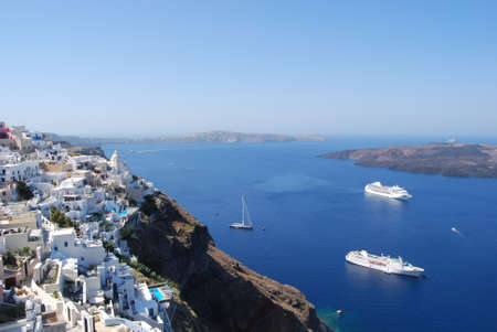 fira: View of the town of Fira and Greece Santorini Caldera