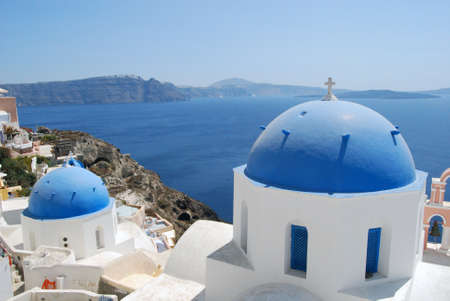 Churches in Oia Santorini Greece photo