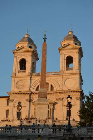monti: Evening view of Trinita dei Monti