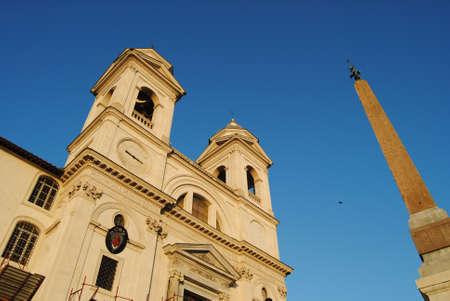 monti: View of the Church Trinita dei Monti  Roma