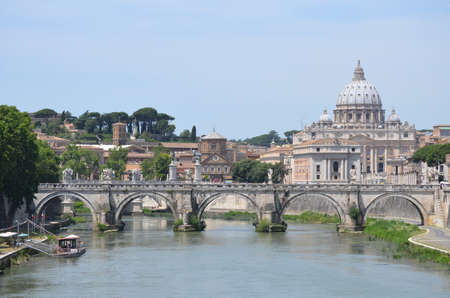 View of the bridge Sant Angelo and St  Peter photo