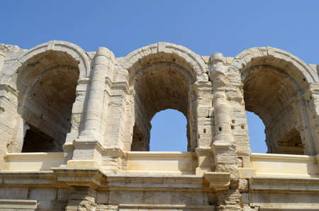arles: View of the amphitheater in Arles France