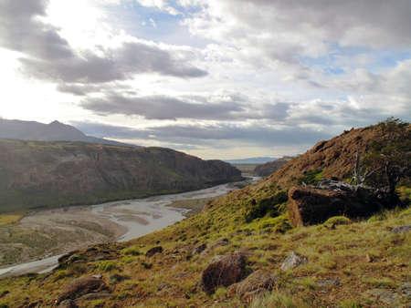chalten: View of a river in Chalten Argentina
