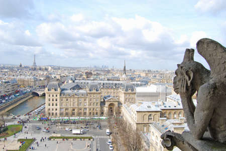 The rooftops of Paris, Notre Dame Cathedral photo