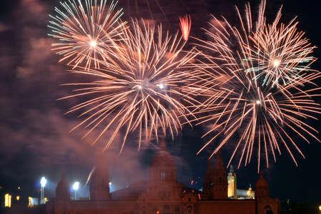 merce: Fireworks Merce Barcelona Stock Photo