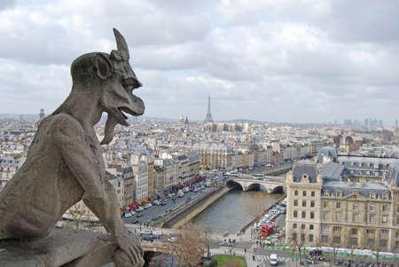 gargouille: Les toits de Paris, cath�drale Notre-Dame Banque d'images
