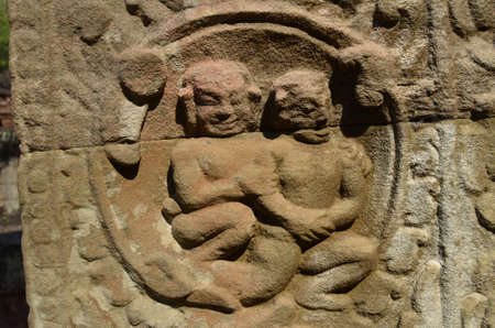 khan: Bas relief of khmer everyday life  Preah Khan  Cambodia  Stock Photo