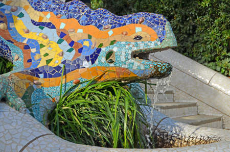 guell: Dragon s Parc Guell Barcelona Stock Photo