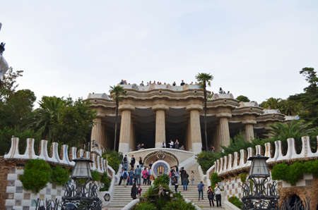 The entrance to the Parc Guell Barcelona