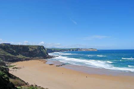 cantabria: View of Locos beach  Suances  Cantabria Stock Photo